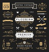 Set of retro vintage graphic design elements. Collection 3