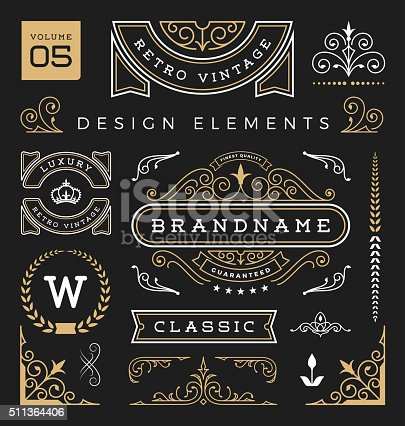 Set of retro vintage graphic design elements. Collection 5