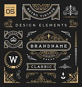 Set of retro vintage graphic design elements. Collection 5