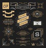 Set of retro vintage graphic design elements. Collection 7