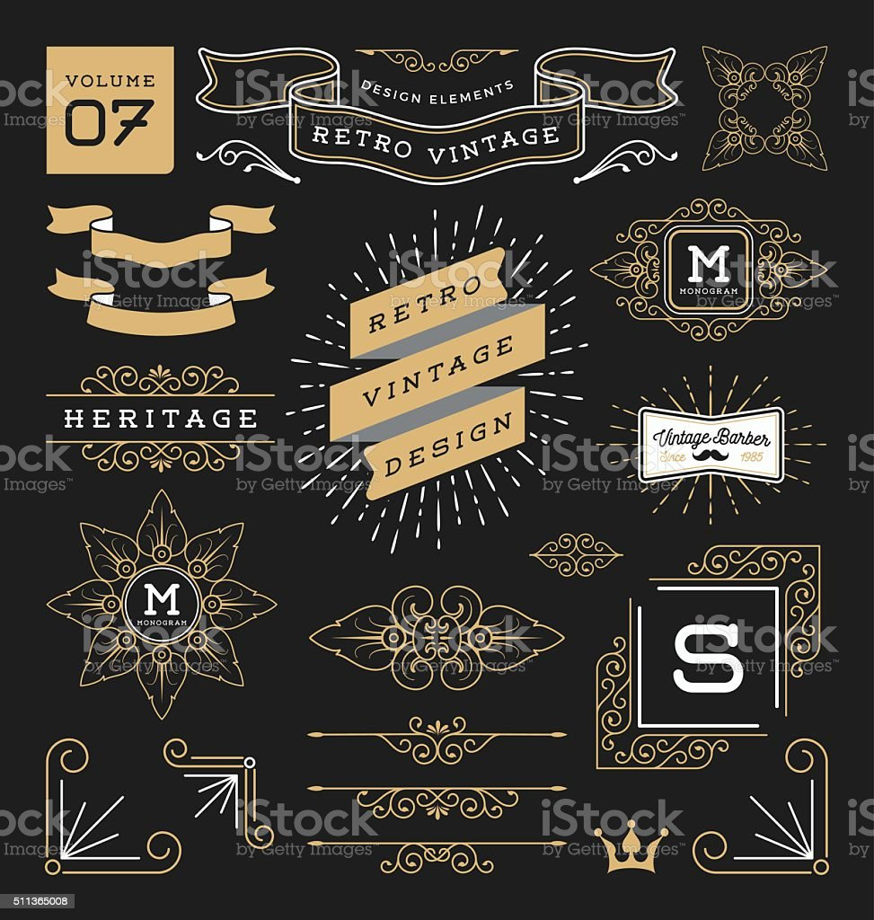 Set of retro vintage graphic design elements. Collection 7 vector art illustration