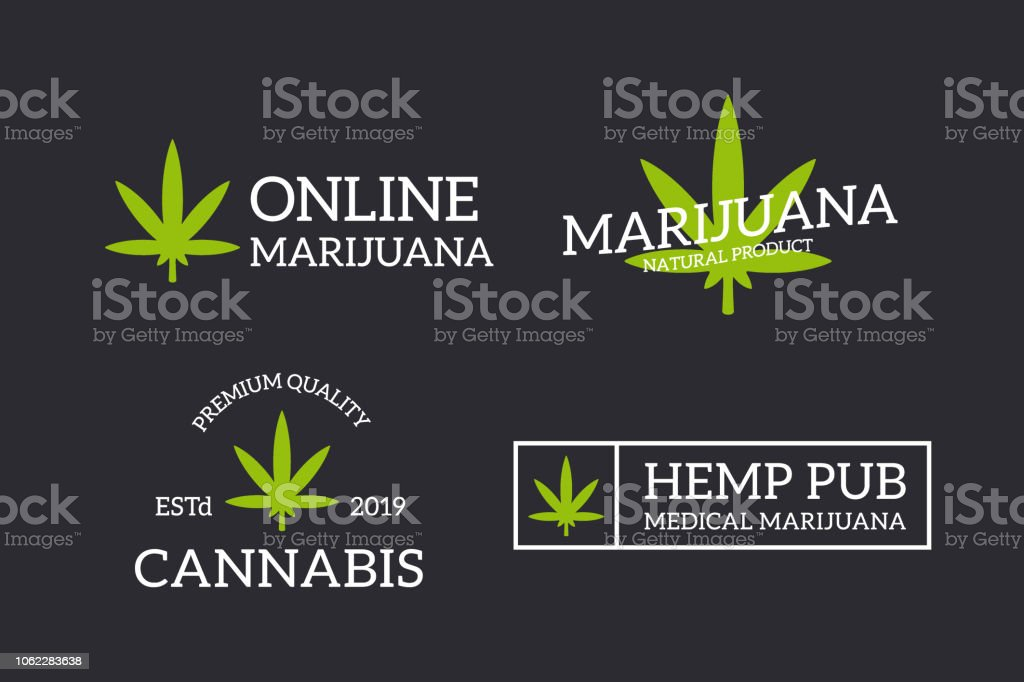 Set Of Retro Vintage Hemp Cannabis Logo Or Insignia Emblems Labels