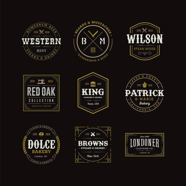 set of retro vintage hipster logo sign emblem design - restaurant logos stock illustrations, clip art, cartoons, & icons