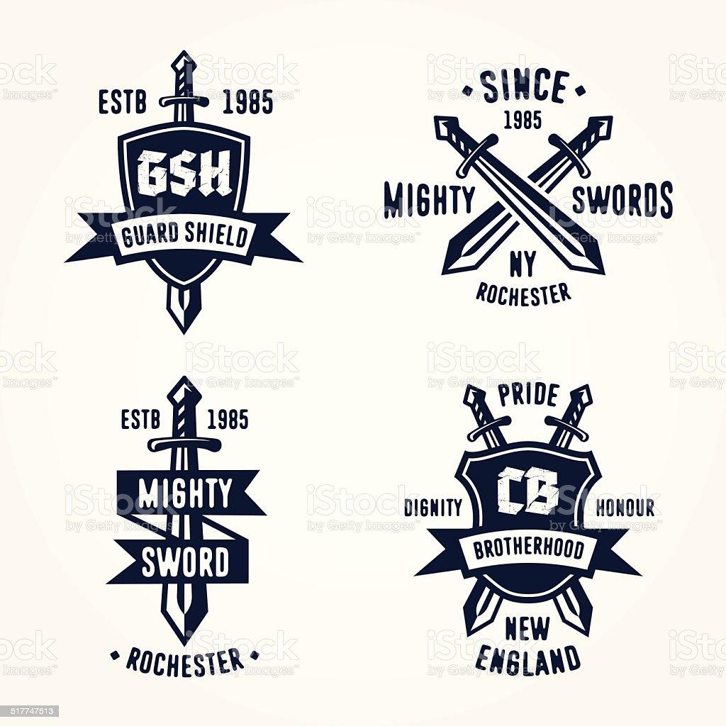 Set of retro vintage sword badges vector art illustration