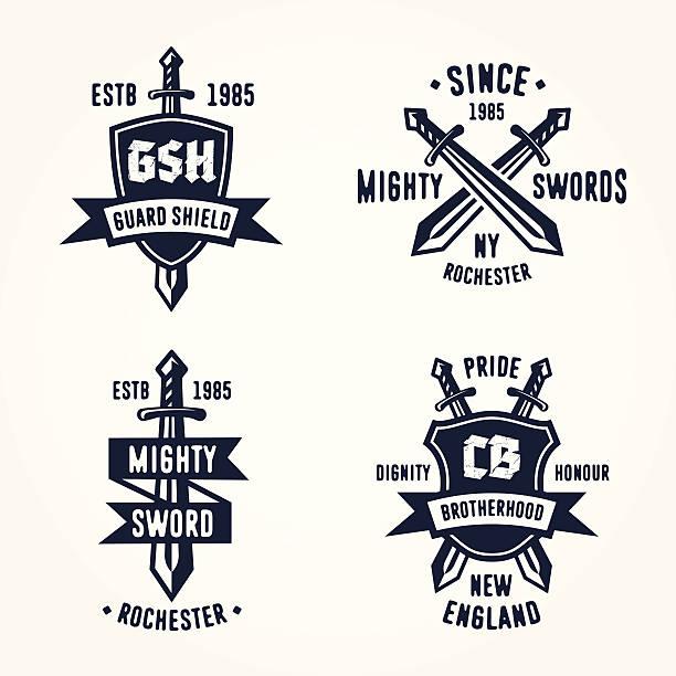 set of retro vintage sword badges - sword stock illustrations
