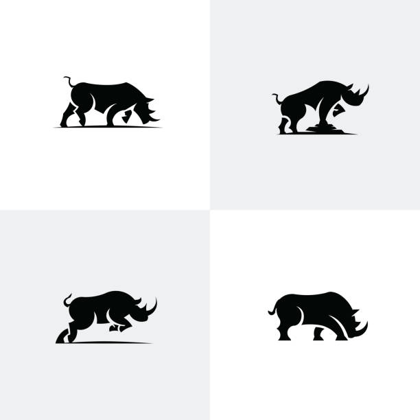 Set of rhino icons Animal icon vector collection rhinoceros stock illustrations