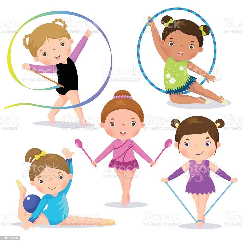 Set of rhythmic gymnastics cute girls vector art illustration
