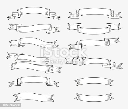 Set of ribbon banners. Hand drawn design element. Vector illustration.