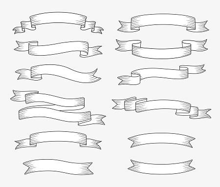 Set of ribbon banners. Hand drawn design element. Vector illustration.