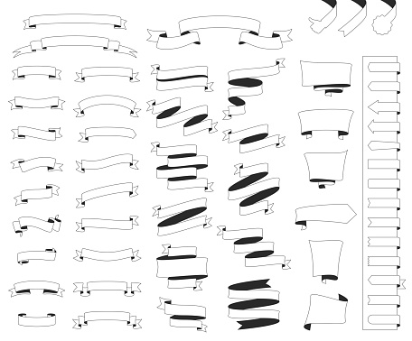 Set of Ribbons, Banners (outline, line art) - Design Elements on white background