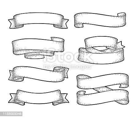 Set of ribbons isolated on white background. Vector black vintage engraving illustration for menu, poster, web and label. Hand drawn in a graphic style.
