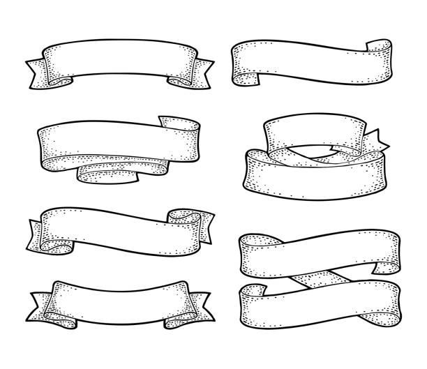리본 흰색 배경에 고립의 집합입니다. 벡터 - 오래된 stock illustrations
