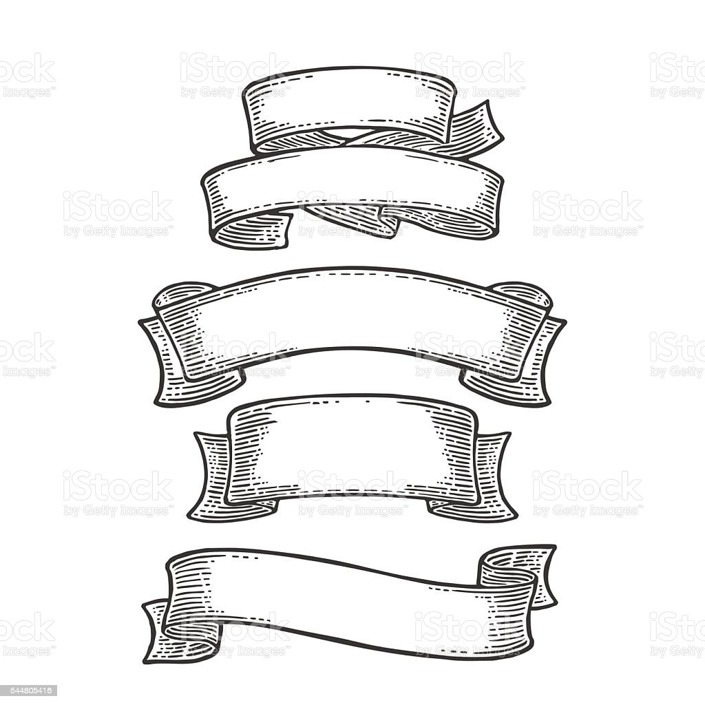Set of ribbons isolated on white background. Vector vector art illustration