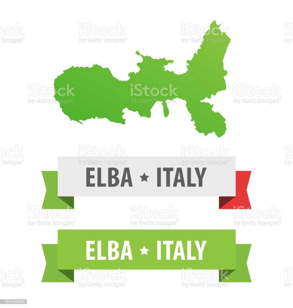 Insel Elba Karte.Satz Von Bändern Mit Elba Italien Beschriftung Und Karte Der Insel
