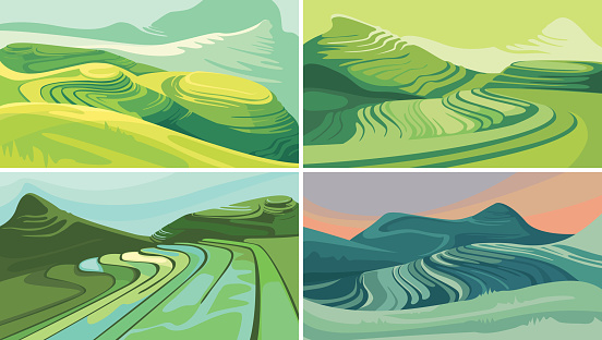 Set of rice terraces.