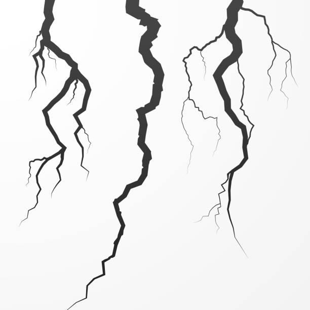 ilustrações, clipart, desenhos animados e ícones de conjunto de rift e da fissura. dividi surfase quebrado. ilustração em vetor de crack isolada no fundo branco - texturas de riscos