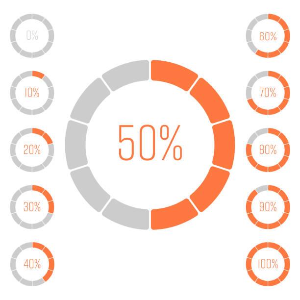 zestaw wykresów kołowych pierścieniowych z wartością procentową. analiza wydajności w procentach. nowoczesne wektorowe szaro-pomarańczowe elementy wykresu infograficznego - postęp stock illustrations