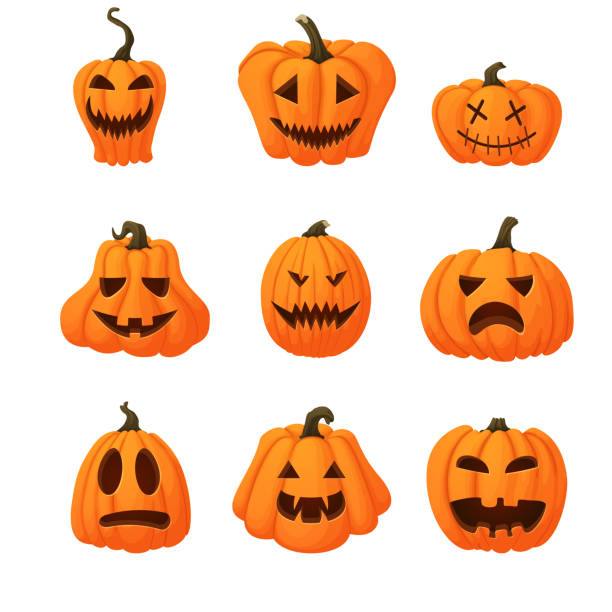 set of ripe orange pumpkins with funny faces isolated on white background. halloween, harvest icon. different shapes. - pumpkin stock illustrations