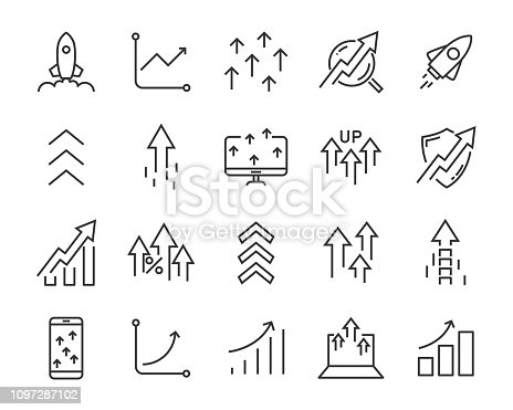 set of rising icons, such as test, boost, up, rise, increase, fast