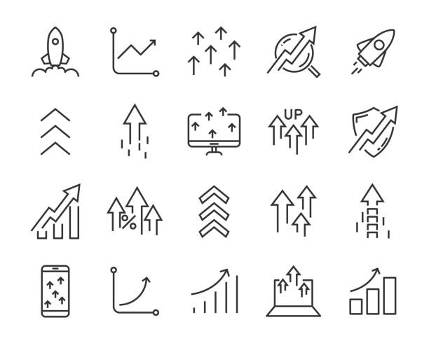 set of rising icons, such as test, boost, up, rise, increase, fast set of rising icons, such as test, boost, up, rise, increase, fast high up stock illustrations