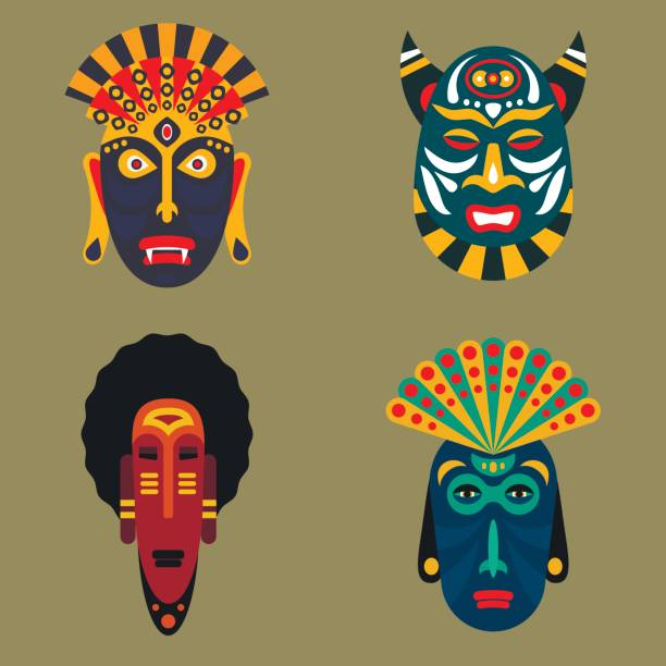 ilustrações de stock, clip art, desenhos animados e ícones de set of ritual ethnic mask icons in flat style. african tribal mask icons vector collection. - afro latino mask