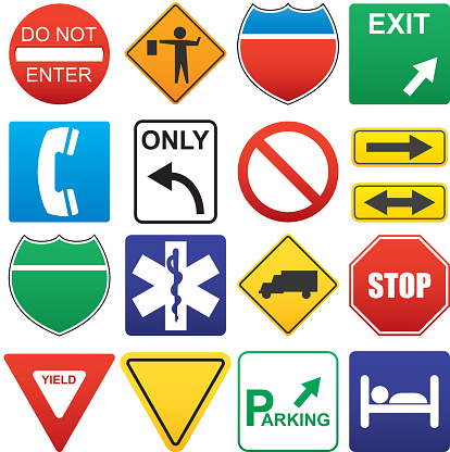 Vector illustration of road signs. ZIP includes AI, PDF and high resolution transparent PNG.