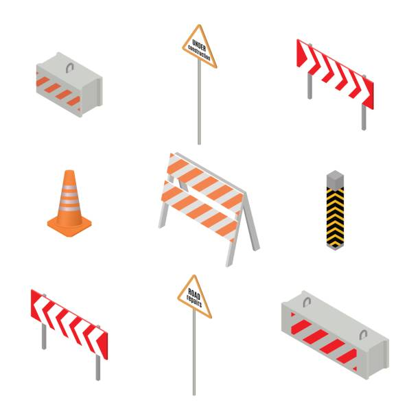 Set of road signs repairs in isometric, vector illustration. vector art illustration