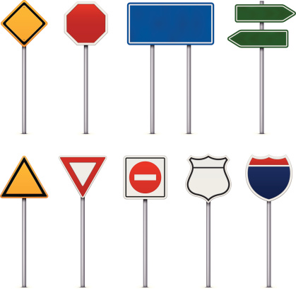 Set of Road Signs on white background.