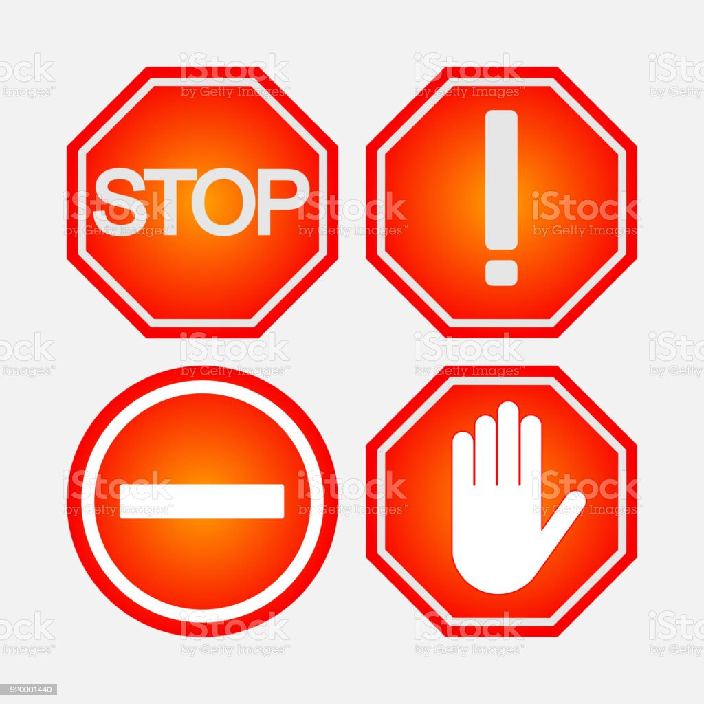 Set of road stop signs safety on the road notifying and prohib banner sign hand human hand information medium message biocorpaavc