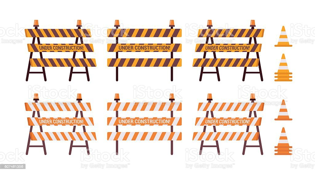 Set of roadblock with light and cone vector art illustration