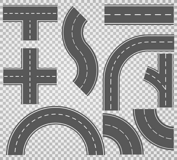 Set of roads and road bends. Vector illustrations EPS10 Set of roads and road bends. Vector illustrations EPS10 highway stock illustrations