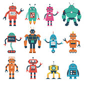 Set of Robot Characters Isolated on White Background