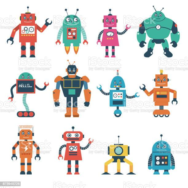Set of robot characters isolated on white background vector id873945226?b=1&k=6&m=873945226&s=612x612&h=muh3wdu1jk8lxnbaw v7wsognqa51wbpbqrh9sid4zg=