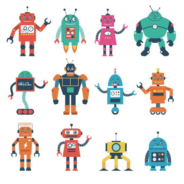 ilustraciones, imágenes clip art, dibujos animados e iconos de stock de conjunto de caracteres de robot aislado sobre fondo blanco - robot