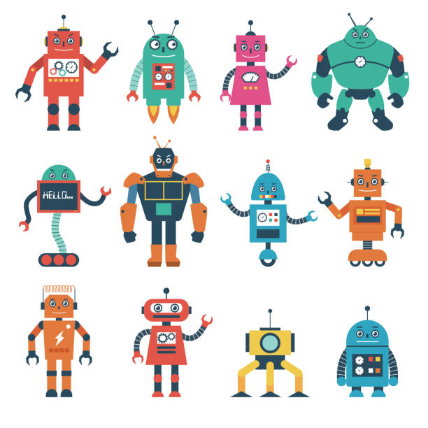 set of robot characters isolated on white background - robotics stock illustrations, clip art, cartoons, & icons