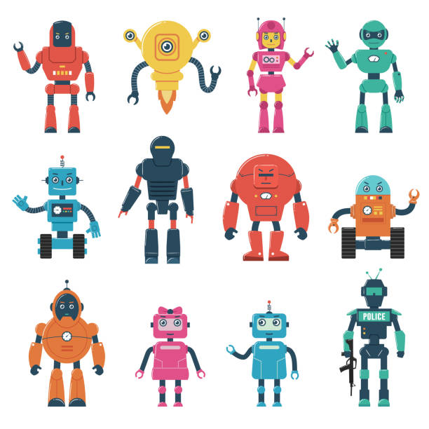 set of robot characters - robotics stock illustrations, clip art, cartoons, & icons