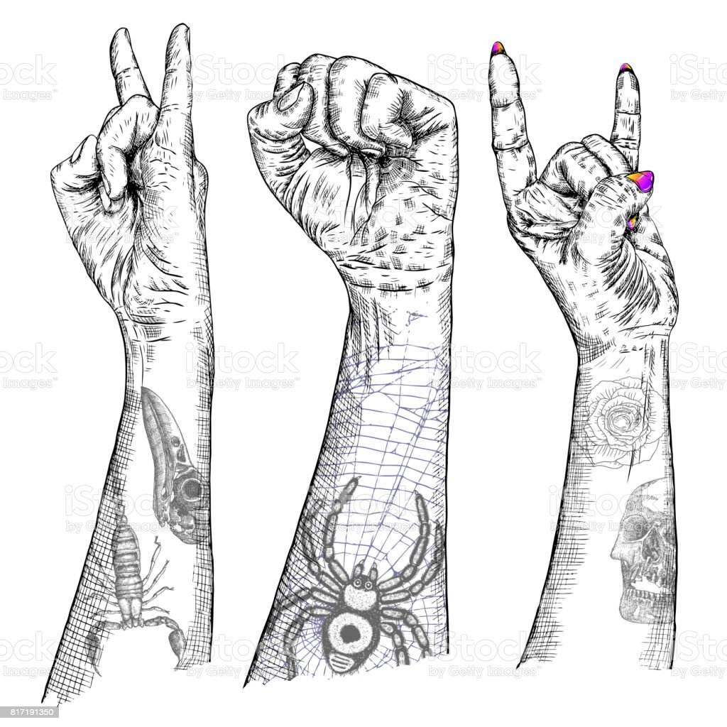 Set of rock and roll music hand sign hand drawn girl and guy style set of rock and roll music hand sign hand drawn girl and guy style fist biocorpaavc Choice Image