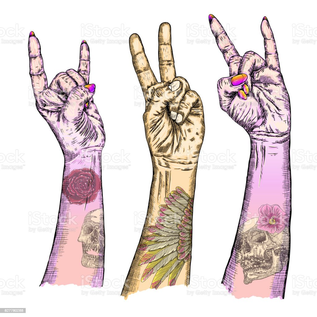 Set Of Rock And Roll Music Hand Sign Hand Drawn Girl And Guy Style