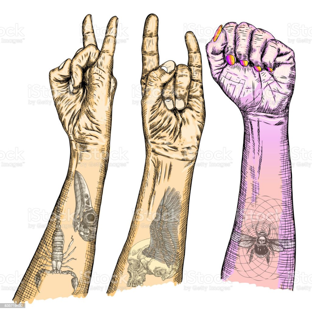 Set of rock and roll music hand sign hand drawn girl and guy style set of rock and roll music hand sign hand drawn girl and guy style fist biocorpaavc Gallery