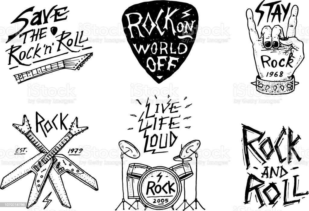 f44af7cd8 Set of Rock and Roll music symbols with Drums, Plectrum and machete.  labels, logos. Heavy metal templates for design t-shirt, night party and  festival.
