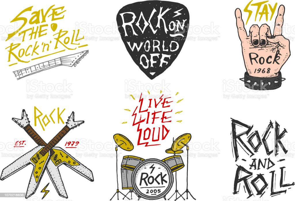 Vetores De Conjunto De Simbolos De Musica Rock And Roll Com