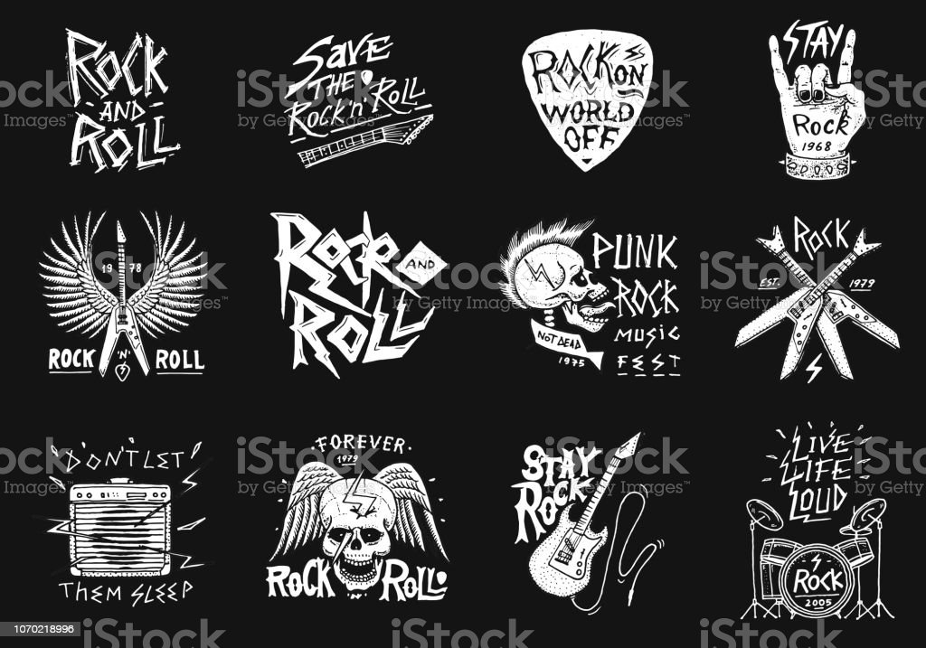 8e093a8f5 Set of Rock and Roll music symbols with Guitar Wings Skull, Drums Plectrum.  labels, logos. Heavy metal templates for design t-shirt, night party and ...
