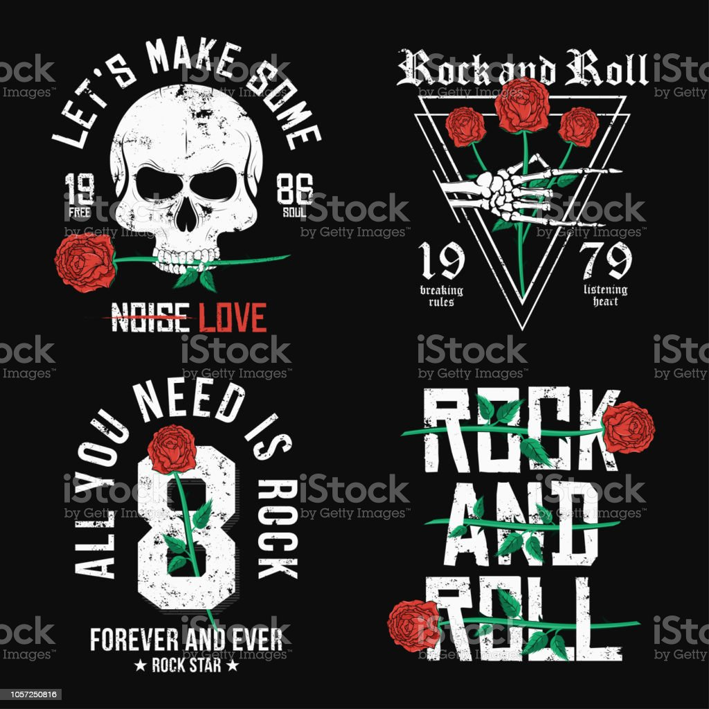 5b68ad1a Set of Rock and Roll t-shirt design. Red roses, skull and skeleton hand.  Vintage rock music style graphic for t-shirt print with slogan and grunge  ...