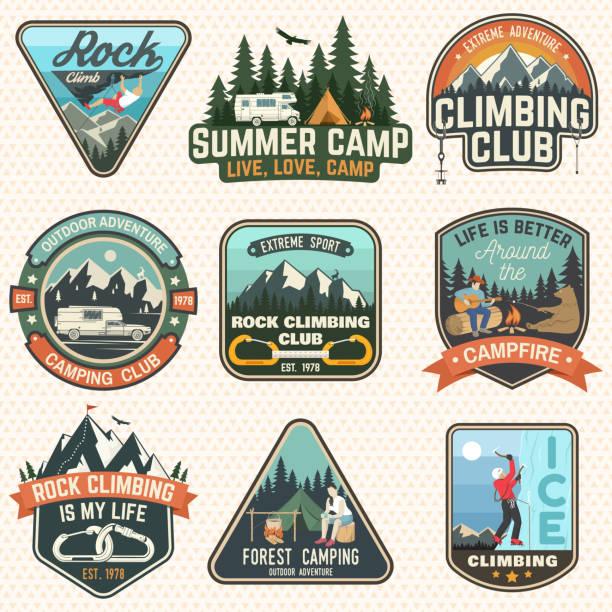 stockillustraties, clipart, cartoons en iconen met aantal badges rock climbing club en in de zomer kamp. vector. - patchwork