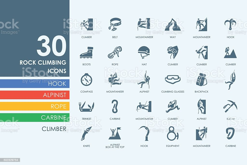 Set of rock climbing icons vector art illustration