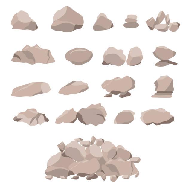 set of rock of stones and large boulders - skała stock illustrations