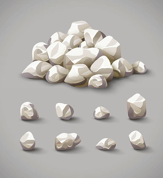 set of rocks and stone pile vector - pebbles stock illustrations, clip art, cartoons, & icons