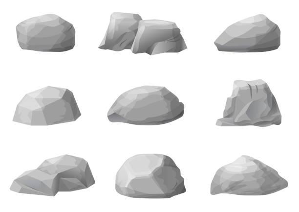 Set Of Rocks Boulders Stones Stock Illustration - Download Image Now