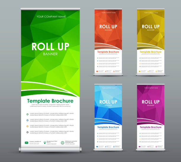 Set of roll up banner for business with abstract polygonal background. vector art illustration