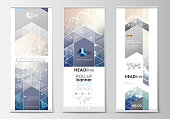 Set of roll up banner stands, flat design templates, abstract geometric style, modern business concept, corporate vertical vector flyers, flag banner layouts. DNA molecule structure on blue background. Scientific research, medical technology.